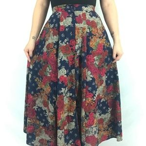 80s Button Front Floral Skirt